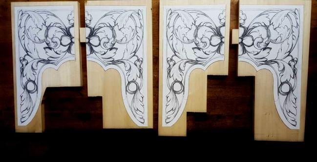 lime wood pipe organ carving by Laurent Robert Woodcarver in Massachusetts, drawings