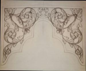 Westminster Abbey choir school pipe organ carvings by Laurent Robert woodcarver, drawing of middle tower
