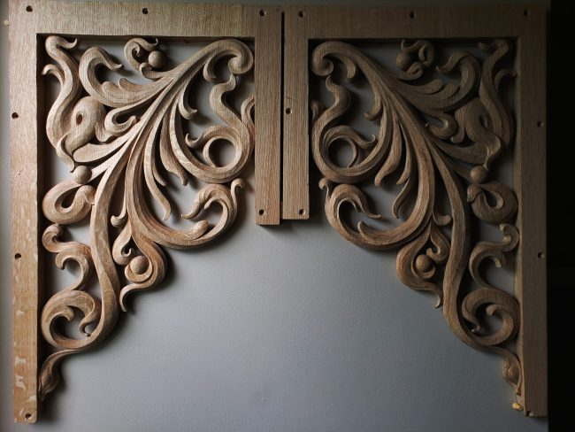 3 Pair of pipe organ carvings for St. Peter's on Capitol Hill
