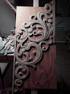 bass side console pipe organ carving reconstruction