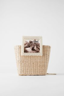 ZARA - BASKET BAG WITH FAUX PEARL HANDLES