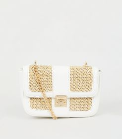 New Look ~ Stone Straw Effect Panel Shoulder Bag