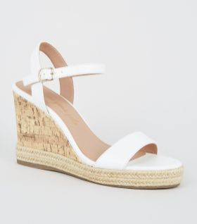 White Suedette 2 Part Cork Wedges