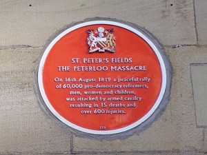 Plaque commemorating the Peterloo Massacre