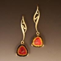 18K Yellow Gold Watermelon Tourmaline Earrings