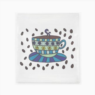 Flour Sack Towel - Coffee Cup & Beans