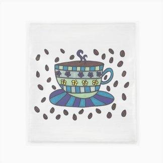 Flour Sack Towel - Coffee Cup & Beans