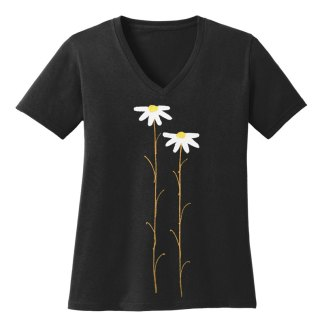 V-Neck-Tee-black-daisiesW