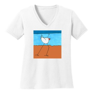 V-Neck-Tee-white-dancing-beach-bird