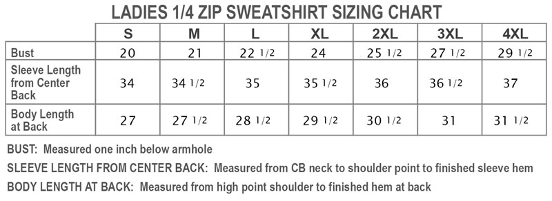 Ladies 1/4 Zip Sweatshirt Sizing Chart