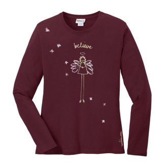 LS-Tee-burgundy-believe-angel