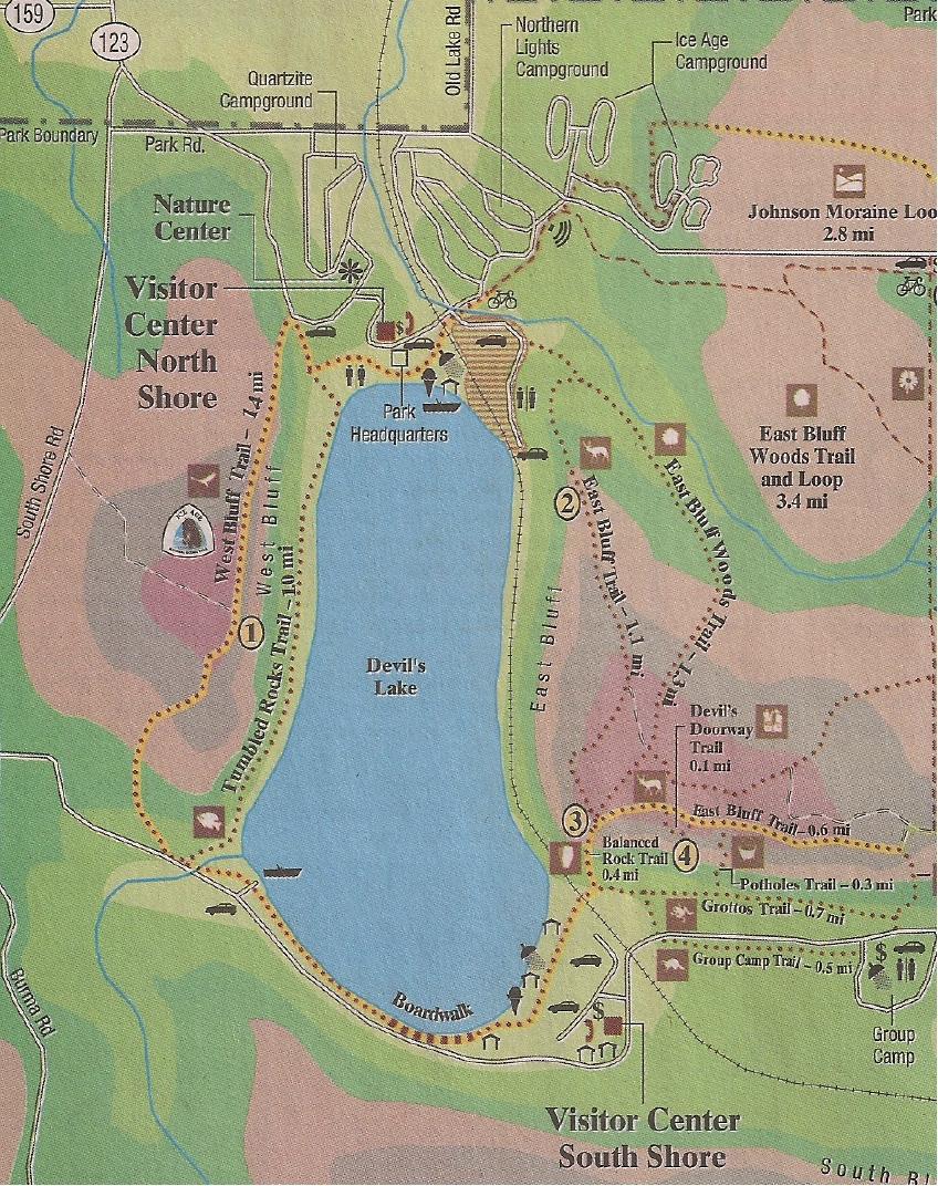 Devils Lake State Park Map : devils, state, Around, Devil's, Adventures, Travel