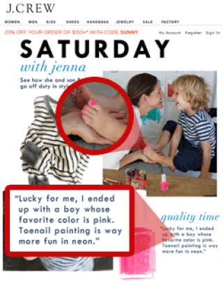 JCrew ad with a mother painting her son's toenails pink