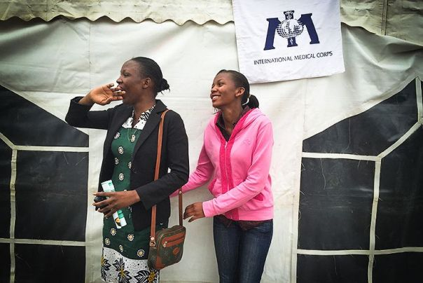 Triza Okal and Catherine NJeri after cervical cancer screening (photo: Abigail Higgins)