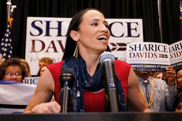 Sharice Davids at a press conference