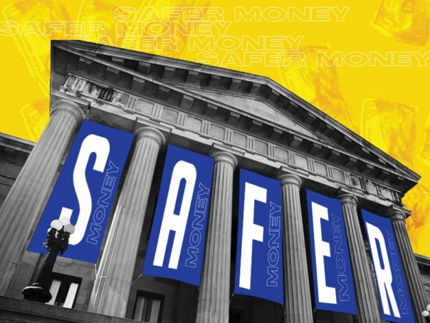 """Letters of the Word """"Safer"""" between the columns of a classic looking bank building"""
