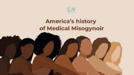 America's History of Medical Misogynoir, with stylized images ofo women with skin tones ranging from very dark to very light