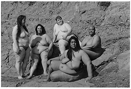 five naked fat women on a beach, from Women En Large