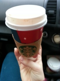 Coffee for the drive to St Albans for a day of Evans family fun