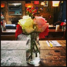 Pretty flowers at the pub