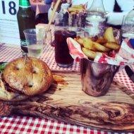 Burgers & fries at Flutes