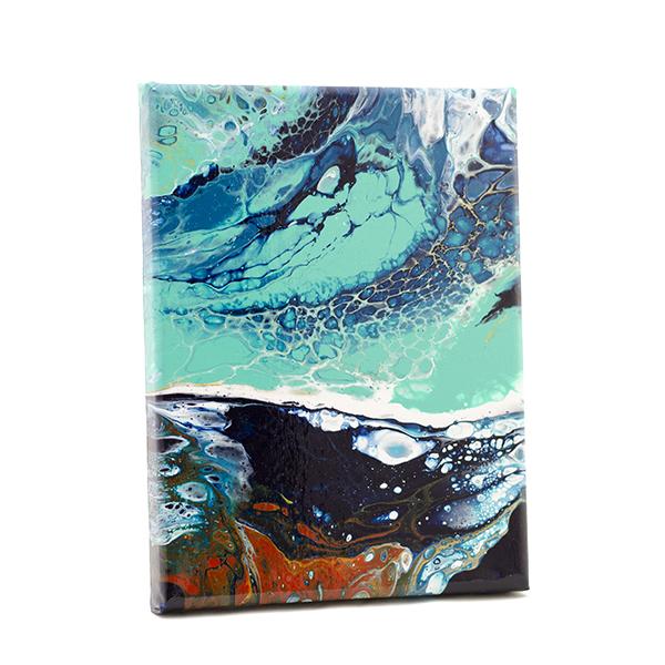 Oceans II – klein kunstwerk, acryl op canvas