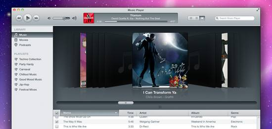 iTunes Inspired Music Player PSD file for free download