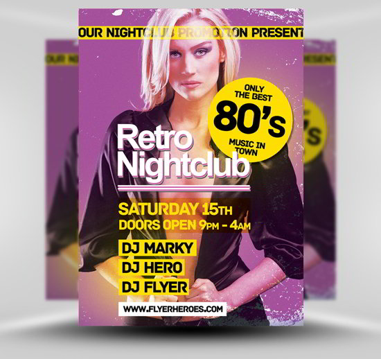 free PSD retro flyer template