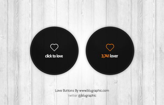 Love Count Buttons Psd