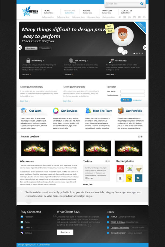 free design agency psd web template