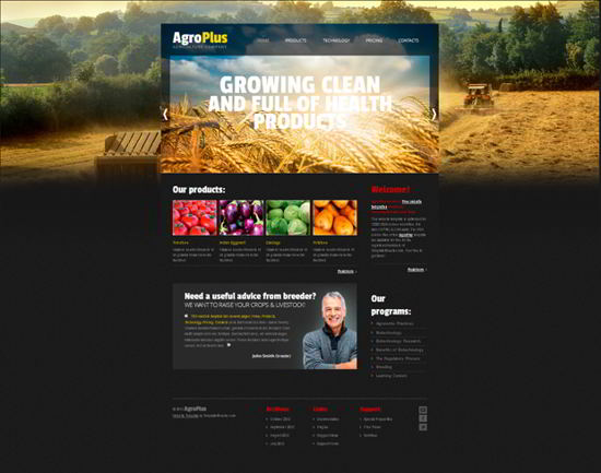 Free Website Template Agriculture Business