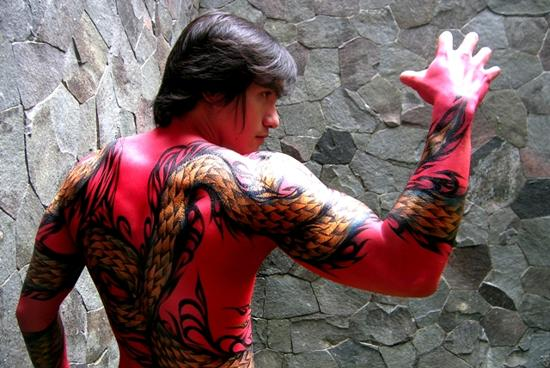 body painting red dragon