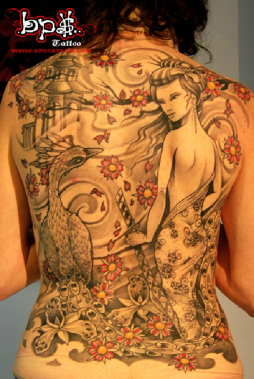 Geisha and Peacock Full Back Tattoo Designs