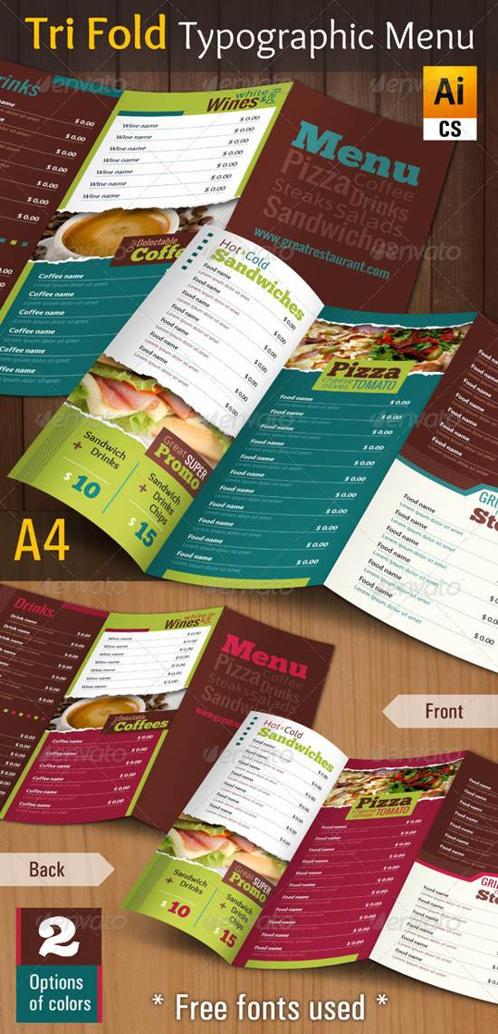 try fold typographic menu template