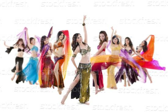 belly dance troupe stock image