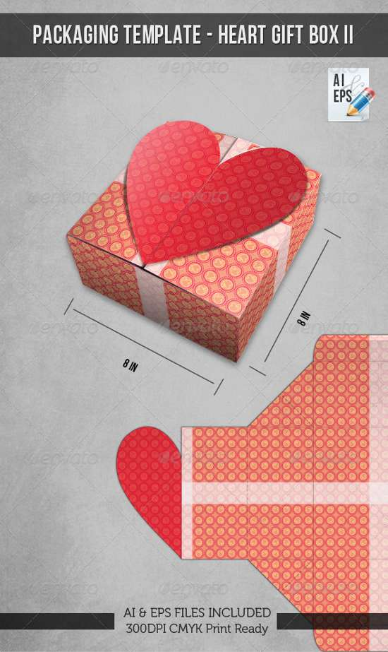 heart gift box packaging template