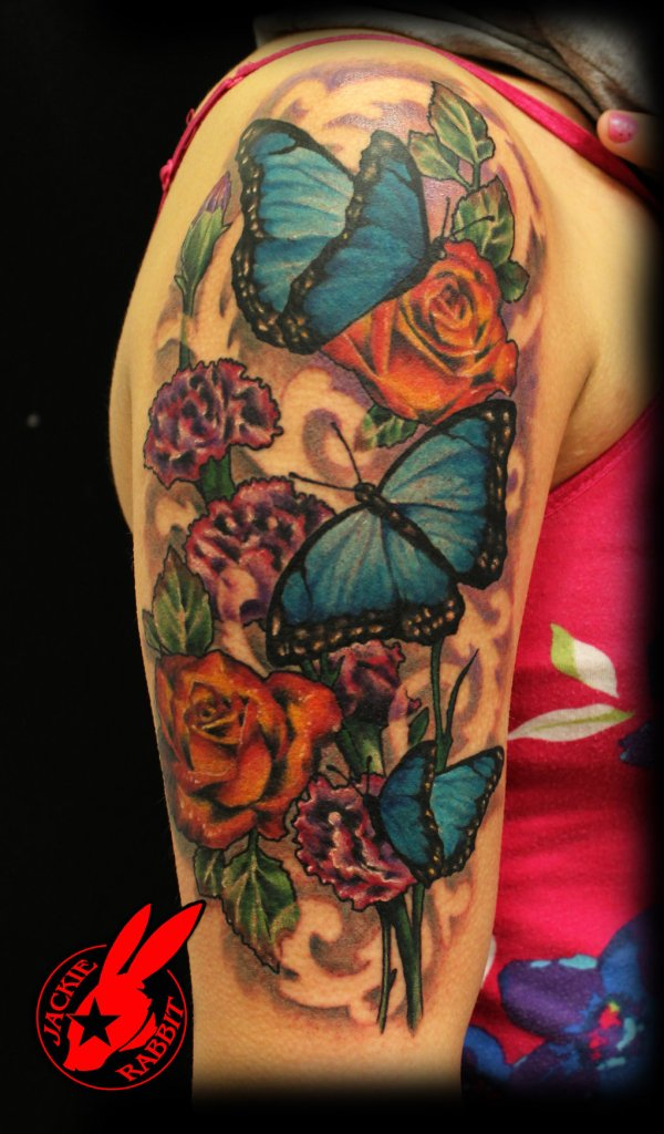 Blue Butterfly Flower tattoo