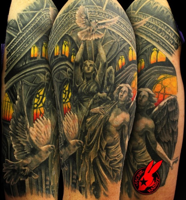 Heaven Angel Cover Up tattoo