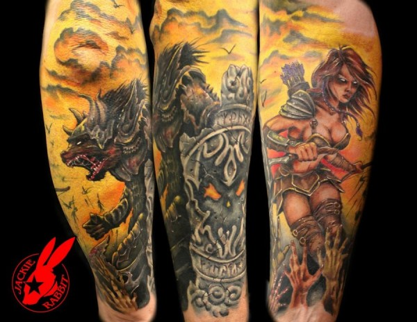 Warrior Half-sleeve Tattoo