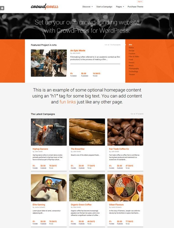 Crowd Funding WordPress Themes of the Year10
