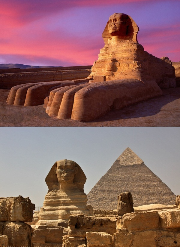 Giza, Egypt --- Twilight at Sphinx --- Image by © Jim Zuckerman/Corbis