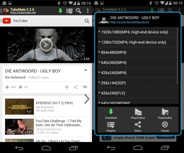 Best Android Apps to download YouTube Videos4-horz