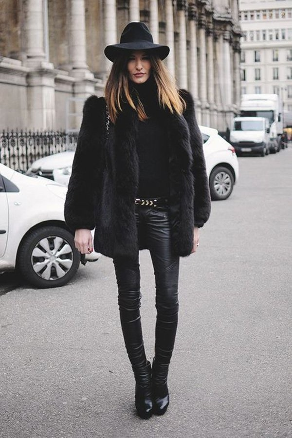 Black pant paired with a black coat