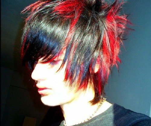 Multi-coloured Emo hairstyle 01