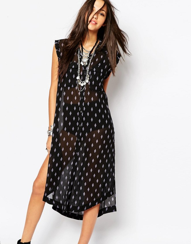 Free People Maxi Tunic with Side Splits for beach wear