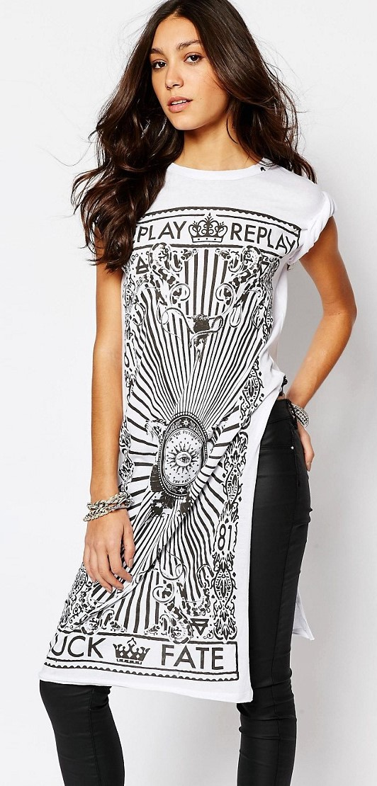 Replay Logo Tunic With Side Split white top