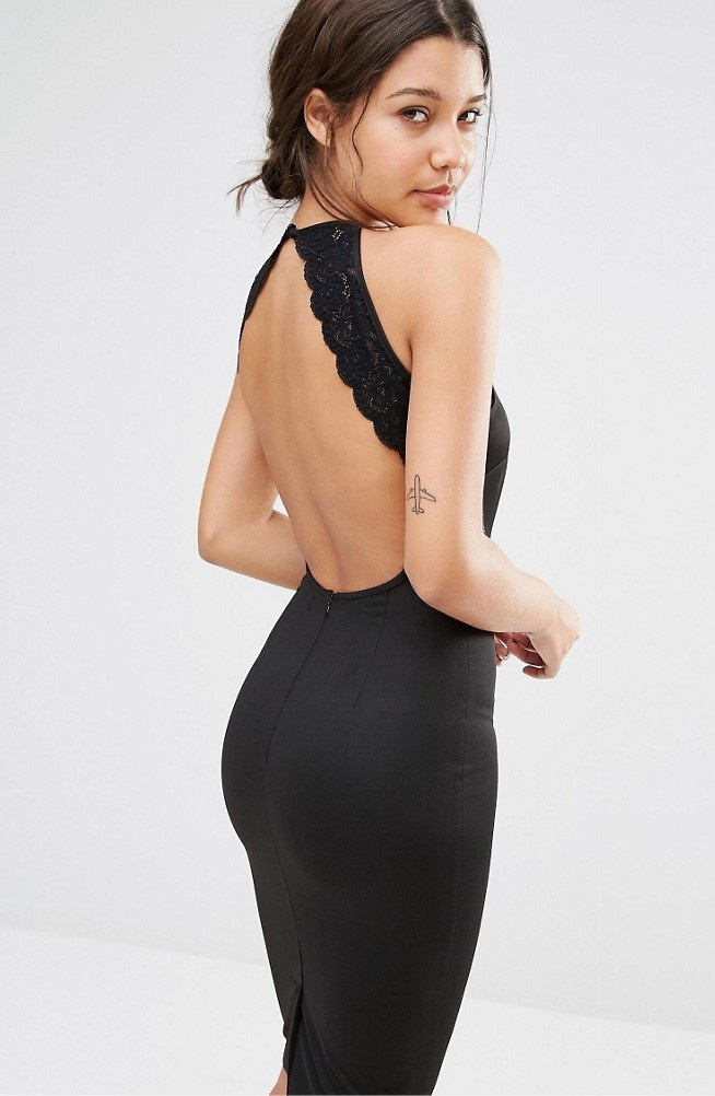 Lace Trim Open Backless Bodycon Dress