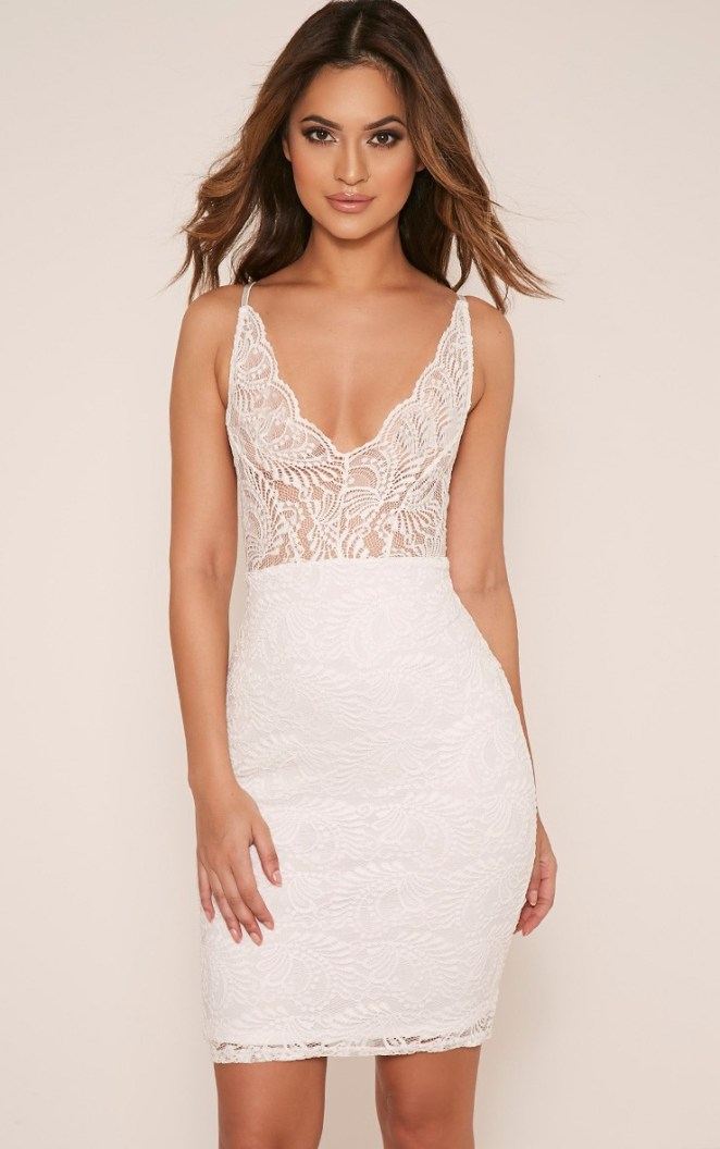 Lucila White Lace Cross Back Bodycon Dress