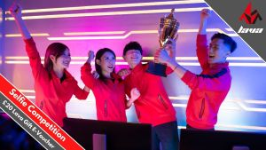 A picture showing PC gamers taking part in Lava Esport's selfie competition