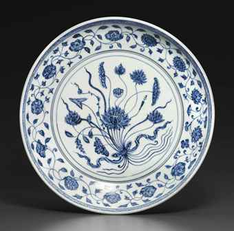 a_rare_early_ming_blue_and_white_lotus_bouquet_dish_yongle_period_d5823726h